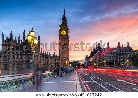 Big Ben and Westminster in London at sunset.