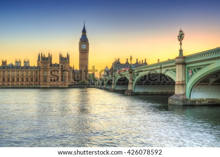 Big Ben and Westminster Palace in London at sunset, UK - stock photo