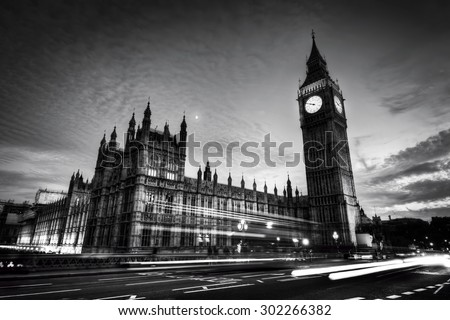 Big Ben and Westminster Palace in London, the UK. at night. View from Westminster Bridge. Black and white - stock photo