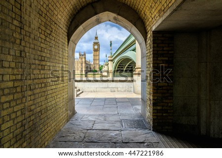 Big Ben and Westminster Palace seen from a pedestrian tunnel - stock photo