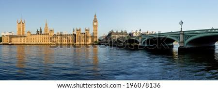 Big Ben and Westminster panorama - stock photo