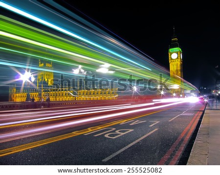 Big Ben at night in London - stock photo