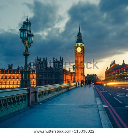 Big Ben at night, London - stock photo