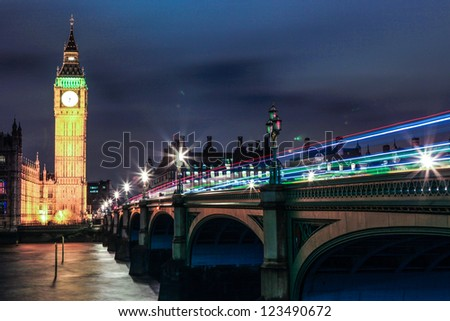 Big ben at night, London, UK. - stock photo