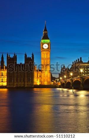 Big Ben at night, London, UK - stock photo
