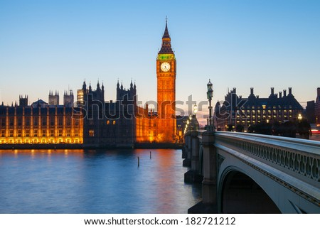 Big Ben at night, London, United Kingdom. - stock photo