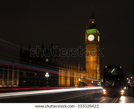 Big Ben at night, one of the most prominent symbols of both London and England - stock photo