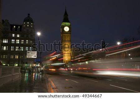 Big Ben at night time - stock photo