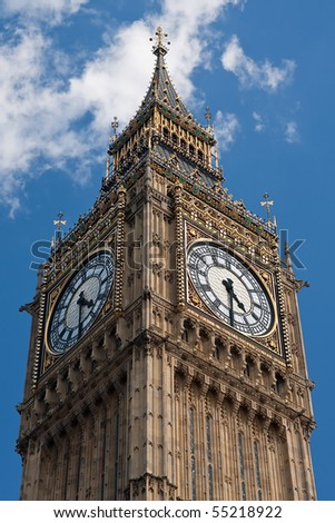 Big Ben at Westminster Palace in London - stock photo