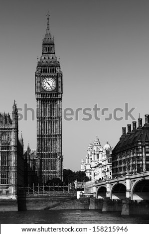 Big Ben Black and white view over Thames with Big Ben tower and Westminster bridge. - stock photo