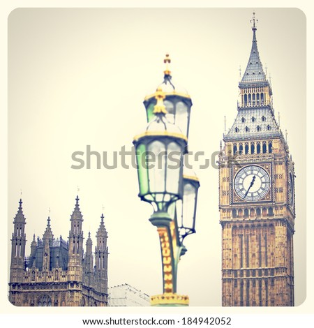 Big Ben clock and Houses of Parliament in London England with Instagram effect filter  - stock photo