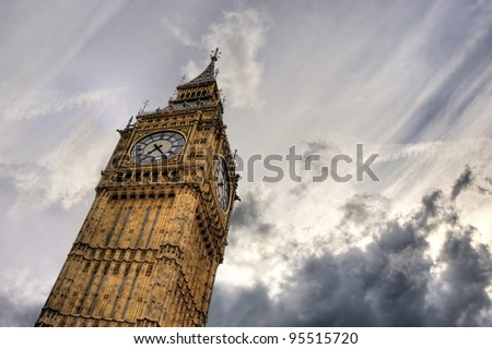 Big Ben clock tower against stormy sky with empty space for text, London, UK - stock photo