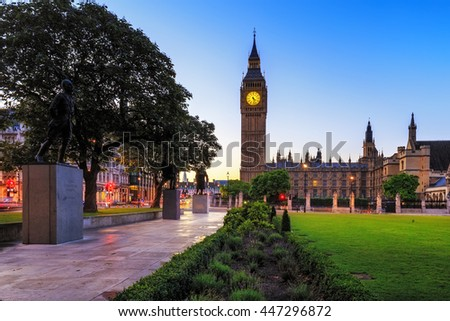 Big Ben Clock Tower and Parliament house at city of westminster, London England UK. - stock photo