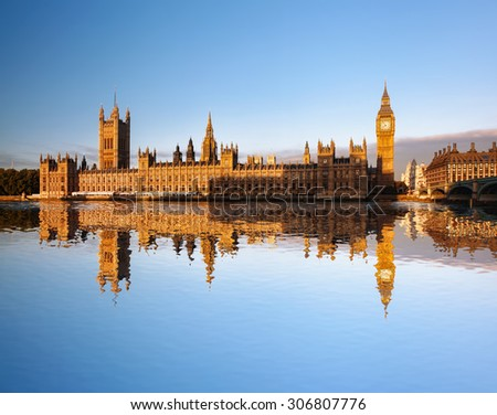 Big Ben Clock Tower and Parliament house in London England UK - stock photo