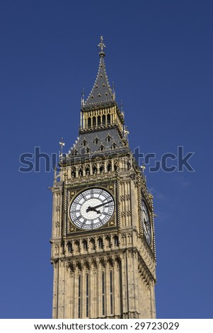 Big Ben clock tower at the Houses of Parliament in London, England.