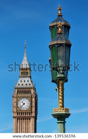 Big Ben - clock tower at the Houses of Parliament. London, UK