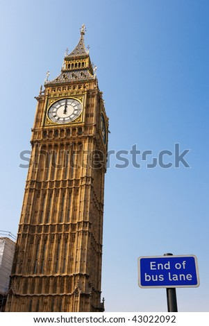 Big Ben - clock tower at the Houses of Parliament. London, UK - stock photo
