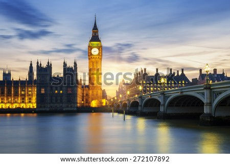 Big Ben clock tower in London at sunset, UK. - stock photo