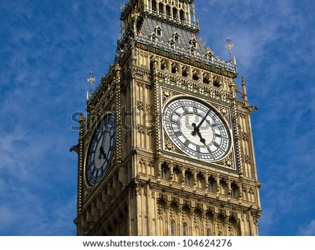 Big ben clock tower in London UK - stock photo