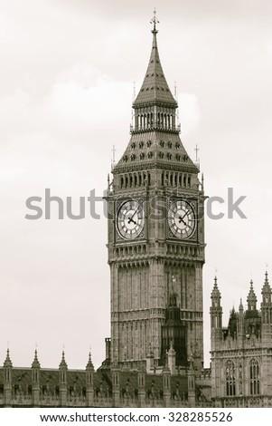 Big Ben, closed up, seen from Westminster Bridge  - stock photo