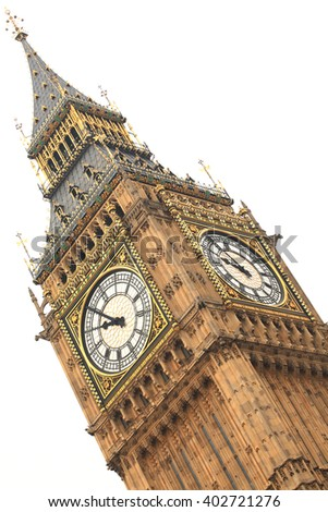 Big Ben detail isolated on white background in London, England.