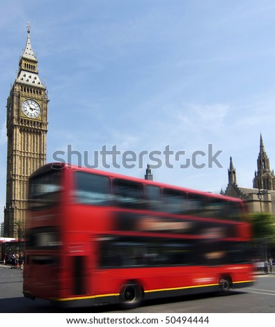 Big Ben - famous clock tower in City of Westminster, part of London with typical red double decker in foreground - stock photo