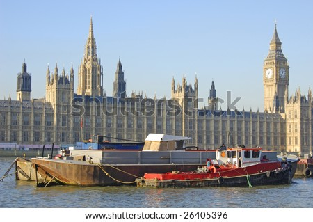 Big Ben, Houses of Parliament and boats on the River Thames in London, England - stock photo