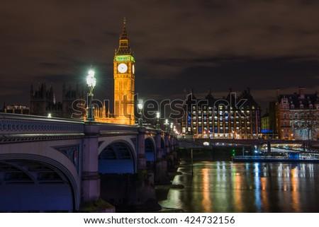 Big Ben, Houses of Parliament and Westminster Bridge, London, UK - stock photo