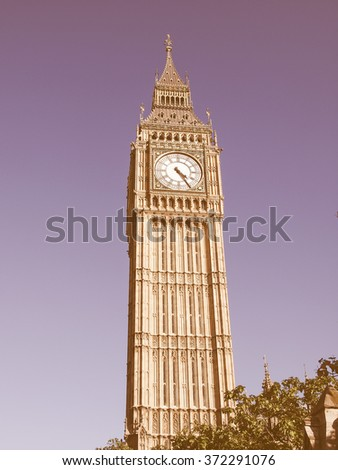 Big Ben Houses of Parliament Westminster Palace London gothic architecture - over blue sky background vintage - stock photo