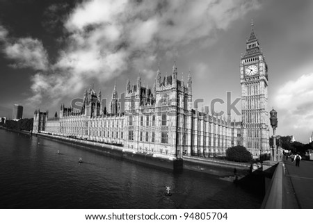 Big Ben in black and white style in London, UK