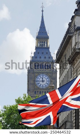 Big Ben in London and English flag - stock photo