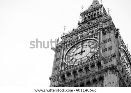 Big Ben  in London UK black and white - stock photo