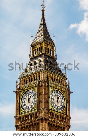 Big Ben in London, UK. Vertical image with selective focus - stock photo