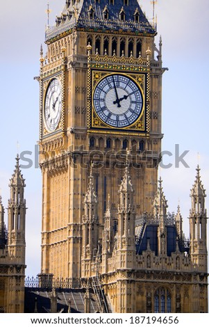Big Ben in London with clouds background - stock photo