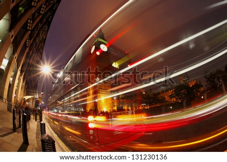 Big Ben in the evening, city of London, England - stock photo