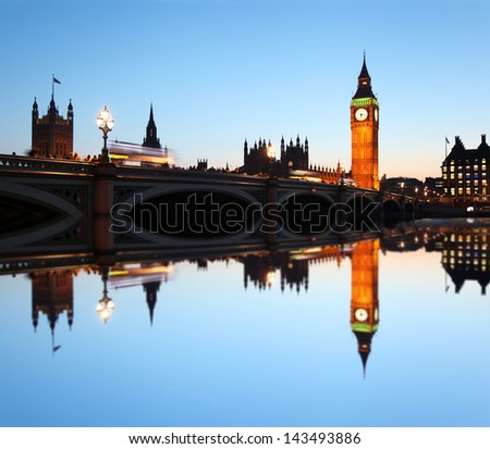 Big Ben in the evening, London, England - stock photo