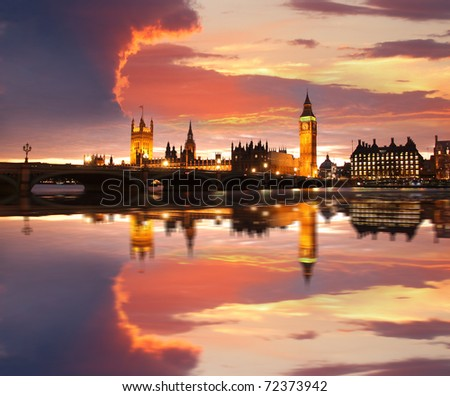 Big Ben in the evening, Westminster, London - stock photo