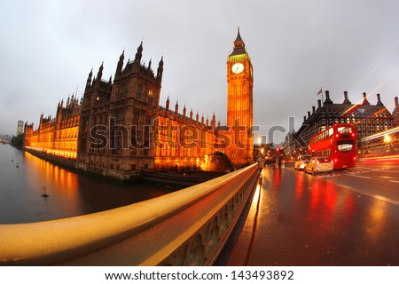 Big Ben in the evening with bridge, London, England - stock photo