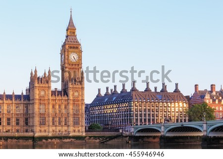 Big Ben in the morning in London.