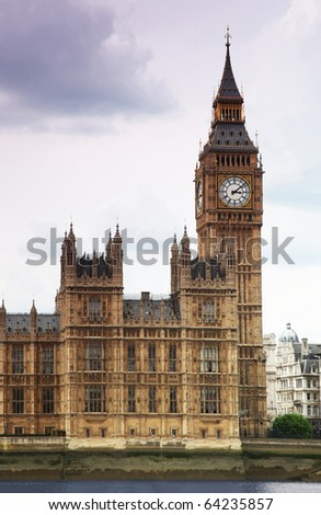 Big Ben is a famous English clock chimes in the Gothic style in London. Big Ben is one of London's best-known landmarks - stock photo
