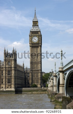 Big Ben is the nickname for the great bell of  the Palace of Westminster in London and is generally extended to refer to the clock or the clock tower as well,