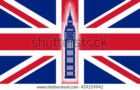 Big ben on background of Great Britain flag. British Union Jack flag and big ben tower. Raster version.