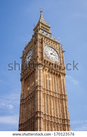 Big Ben, or St Stephen's Tower, in Westminster, London against a clear blue sky. - stock photo