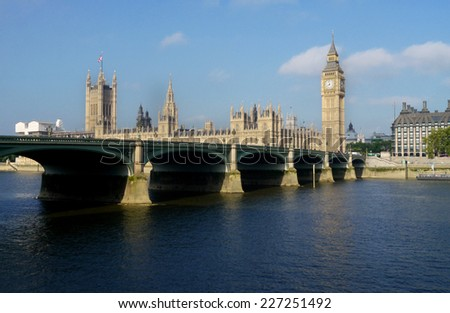 Big ben over the thames river in london