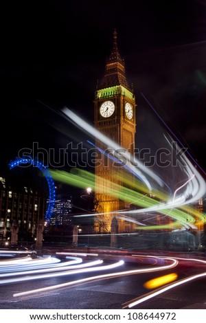 big ben seen through the traffic lights - stock photo
