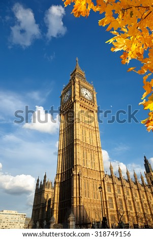 Big Ben tower in London - stock photo