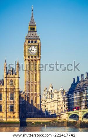 Big Ben tower in London, UK - stock photo