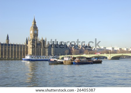 Big Ben, Westminster Bridge and boats on the River Thames in London, England - stock photo
