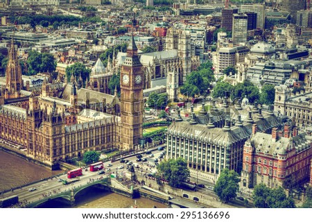 Big Ben, Westminster Bridge on River Thames in London, the UK. English symbol. Aerial view - stock photo