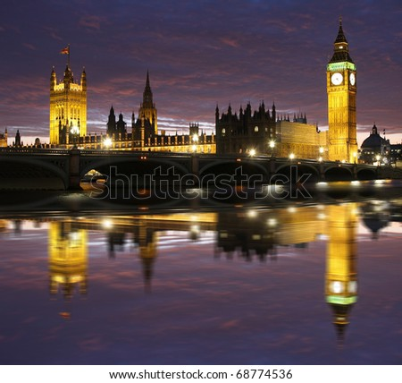 Big Ben with bridge, Westminster, London, UK
